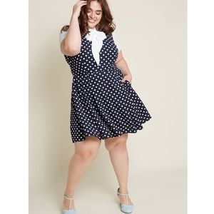 ModCloth Your Zest Bet A-Line Dress in Dotted Navy